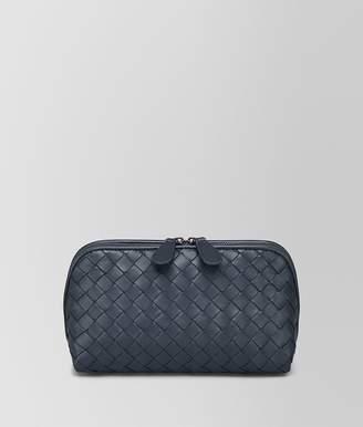 Bottega Veneta Medium Cosmetic Case In Denim Intrecciato Nappa Leather