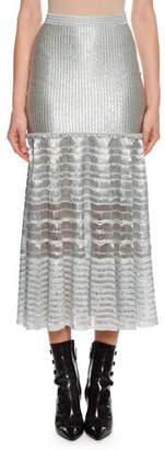 Alexander McQueen Drop-Waist Silvertone Ribbed Midi Skirt