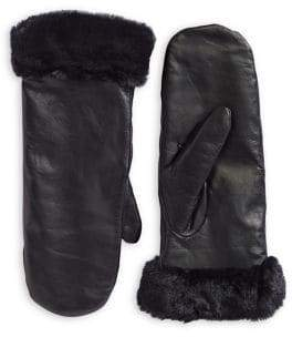 Etereo Fleece-Lined Faux Fur Leather Mittens