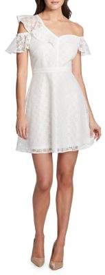 GUESS One-Shoulder Lace Fit-&-Flare Dress