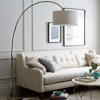 west elm Overarching Linen Shade Floor Lamp - Polished Nickel