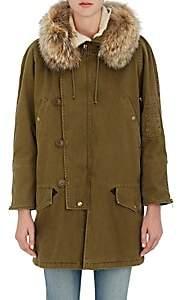 Saint Laurent Women's Fur-Trimmed Gabardine Parka - 2840-Olive