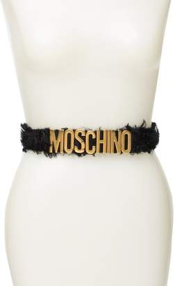 Moschino Mohair Trim Leather Waist Belt