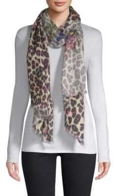 Etro Leopard Print Silk& Cashmere Scarf