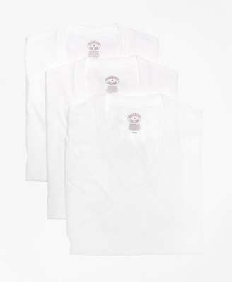 Brooks Brothers Supima Cotton V-Neck Undershirt - Three Pack
