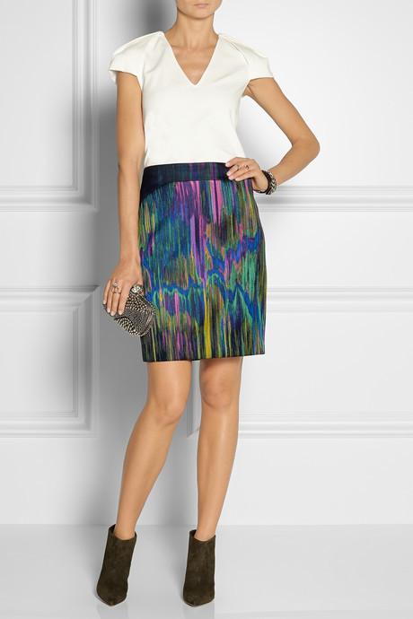 Chalayan Silk organza-trimmed jacquard pencil skirt