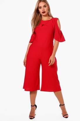 boohoo Plus Crepe Ruffle Culotte Jumpsuit