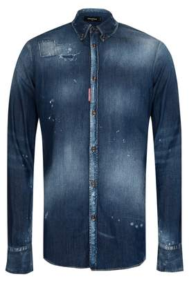 DSQUARED2 Dsquared Western Medium Wash Denim Shirt