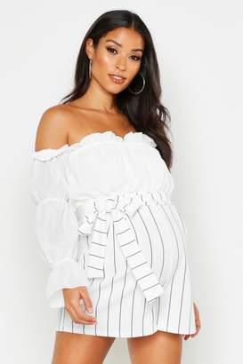boohoo Maternity Tie Waist Stripe Flippy Shorts