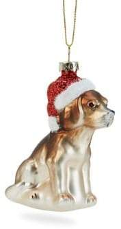 GLUCKSTEINHOME Holiday Charms Dog & Santa Hat Ornament