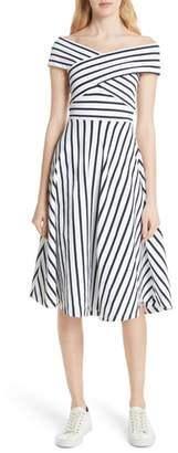 Milly Rivera Off the Shoulder Stripe Stretch Knit Dress
