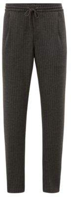 BOSS Hugo Tapered-fit pants in pinstripe brushed jersey drawstring 32R Grey
