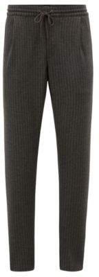 BOSS Hugo Tapered-fit pants in pinstripe brushed jersey drawstring 34R Grey