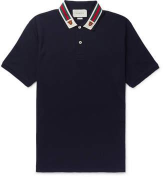 Gucci Appliqued Webbing-Trimmed Cotton-Pique Polo Shirt - Men - Navy