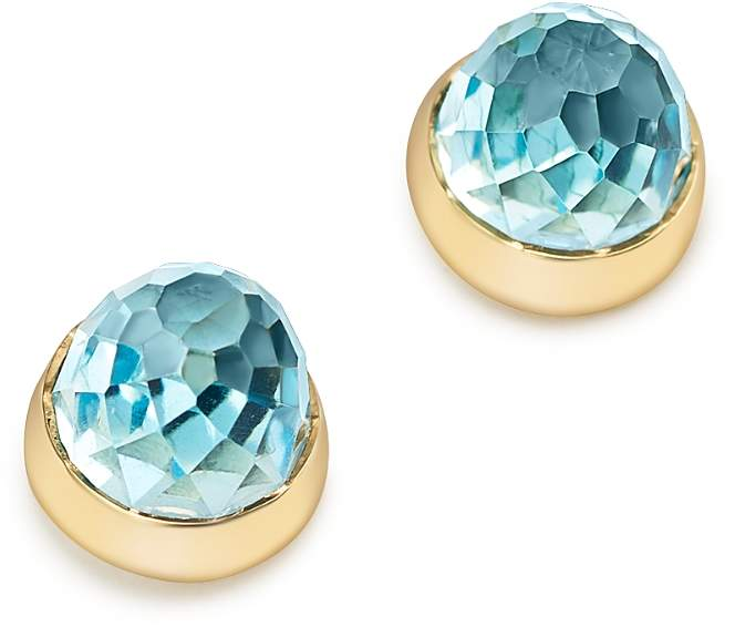 Blue Topaz Faceted Stud Earrings in 14K Yellow Gold - 100% Exclusive