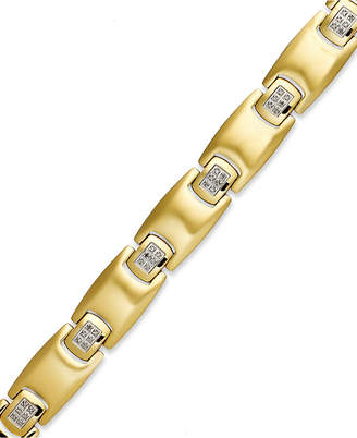 Macy's Men's Diamond Bracelet in Gold Ion-Plated Stainless Steel (1/4 ct. t.w.)