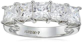 Swarovski La Lumiere Platinum-Plated Sterling Silver Zirconia Princess-Cut 5 Stone Ring (3 cttw), Size P1/2