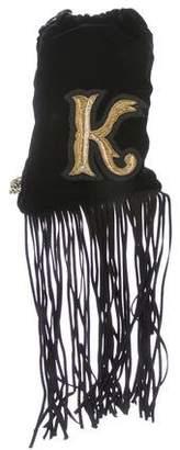 Ralph Lauren Purple Label Velvet & Fringe Mini Crossbody Bag