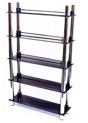 5 Tier CD and DVD Media Display Shelves - Black Glass