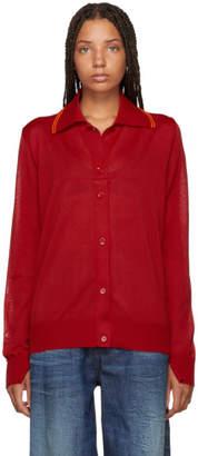 MM6 MAISON MARGIELA Red Long Sleeve Polo