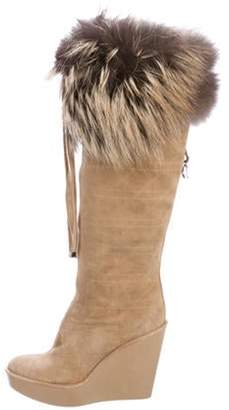 Christian Dior Cannage Fur-Accented Boots Tan Cannage Fur-Accented Boots