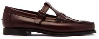Hereu - Soller Woven Front Leather Loafers - Mens - Burgundy
