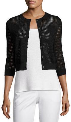 Neiman Marcus Cashmere Collection 3/4-Sleeve Mesh-Stitch Button-Front Shrug $240 thestylecure.com