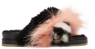 Mr & Mrs Italy Black and Pink Fur Slides