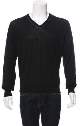 Hermes Leather-Trimmed V-Neck Sweater w/ Tags