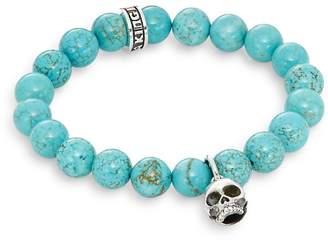 King Baby Studio Men's Turquoise & Sterling Silver Beaded Skull Charm Bracelet