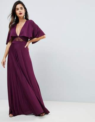 Asos Design Cape Pleated Lace Insert Maxi Dress