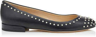 Jimmy Choo JESSIE FLAT Black Leather Round Toe Pumps with Pearl Detailing