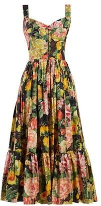 Dolce & Gabbana Peony Print Cotton Dress - Womens - Black Multi