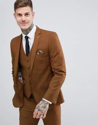 Harry Brown Slim Semi Plain Textured Suit Jacket