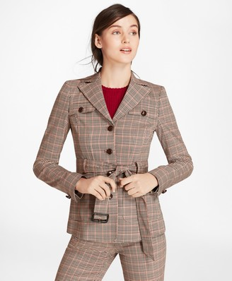 Brooks Brothers Houndstooth-Checked Stretch-Wool Belted Jacket