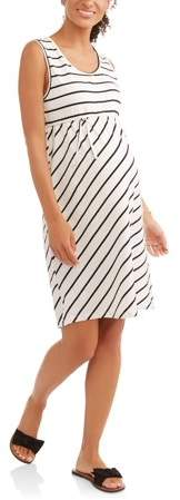 Oh! Mamma Maternity Sleeveless Stripe Dress with Front Tie-- Available In Plus Sizes