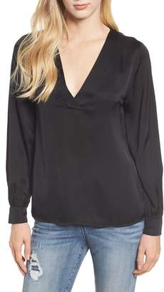 Velvet by Graham & Spencer V-Neck Satin Blouse