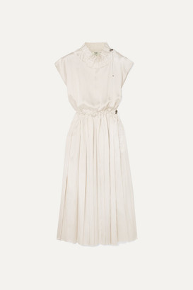Fendi Pleated Striped Silk Midi Dress - White