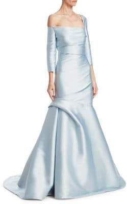 Monique Lhuillier Three-Quarter-Sleeve Trumpet Gown