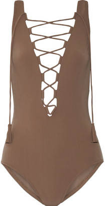 Entwined Lace-up Swimsuit - Mushroom