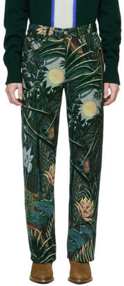 Kenzo Green Jacquard Memento Straight-Cut Trousers