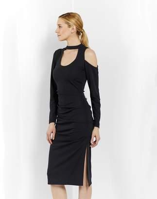 Nicole Miller Stretchy Matte Jersey Scoop Keyhole Dress