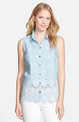 KUT from the Kloth 'Donna' Sleeveless Eyelet Embroidered Chambray Shirt