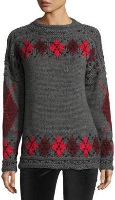 Isabel Marant Gibson Argyle Roll-Neck Sweater Gray