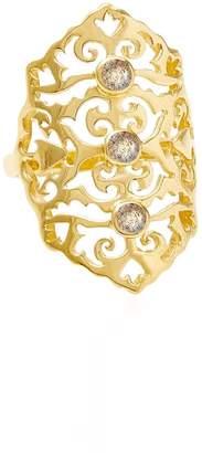 Neola - Jade Gold Cocktail Ring with Labradorite