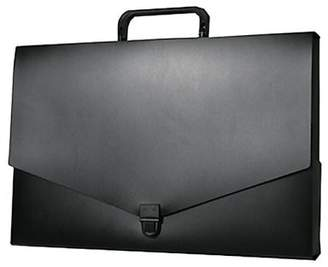 JAM Paper Plastic Portfolio Briefcase with Handles, Small, 10 x 15 x 2, Black, Sold Individually