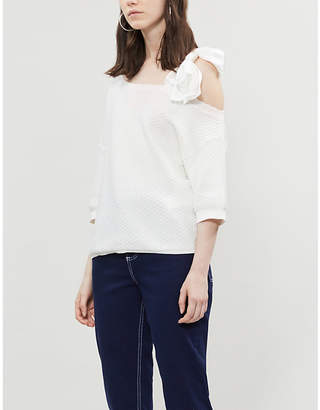 Claudie Pierlot Bow-detail cotton and silk knit jumper