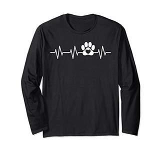 Paw Heartbeat Funny Dog Pawprint Animal Lover Humor Gift Long Sleeve T-Shirt