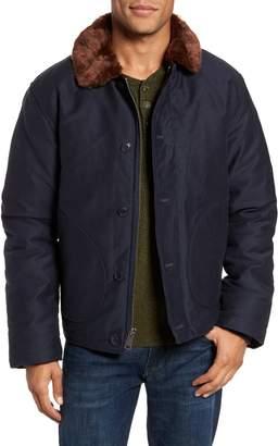 Schott NYC Faux Fur Collar Water-Repellent Corduroy Down Jacket