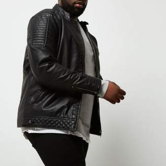 River Island Mens Big and Tall faux leather racer neck jacket